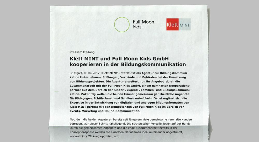Klett MINT und Full Moon Kids GmbH kooperieren in der Bildungskommunikation