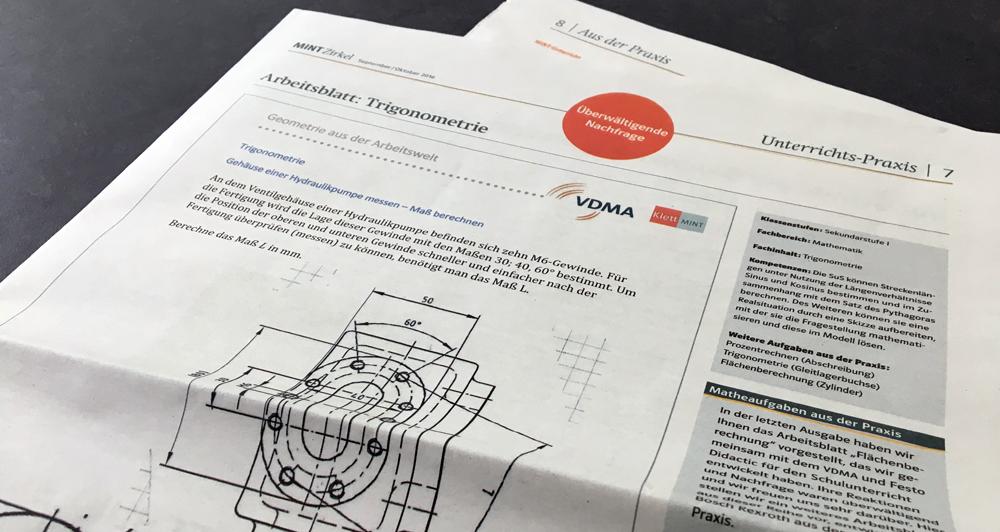 VDMA und Klett MINT – Praktische Matheaufgaben aus der Arbeitswelt